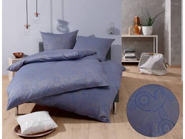 Mako Satin Damast Paisley Bettwäsche blau grau 135x200 Baumwolle
