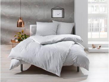 Mako Satin Bettwäsche grau weiß gestreift 135x200 100% Baumwolle