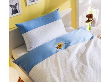 Mako Satin Kinder Bettwäsche Punkte / Bär 100x135 blau