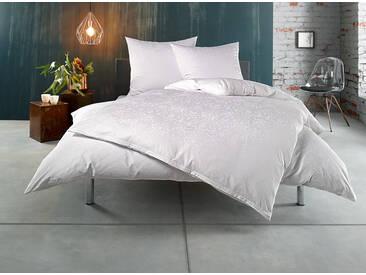 Mako Satin Damast Ornament Bettwäsche 155x220 weiß