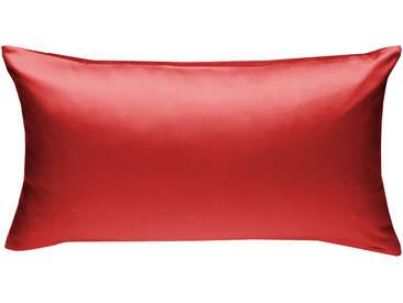 Mako Satin Kissenbezug uni rot 40x80 cm