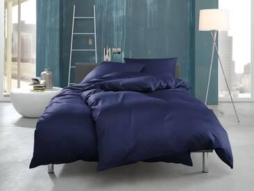 Mako Interlock Jersey Bettwäsche uni dunkelblau 135x200 100% Baumwolle