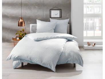 Mako Satin Bettwäsche blau weiß gestreift 135x200 100% Baumwolle