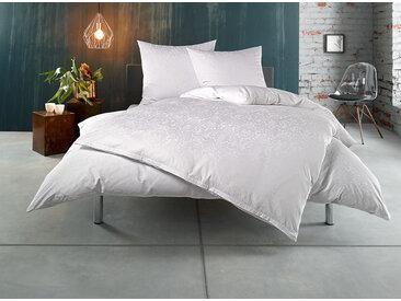 Mako Satin Damast Ornament Bettwäsche 135x200 weiß