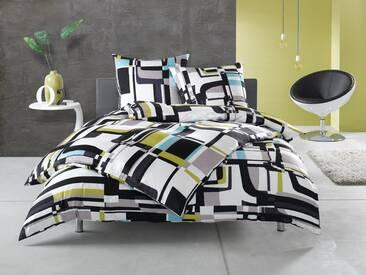 Moderne Mako Satin Karo Bettwäsche schwarz weiß grün 135x200 Baumwolle