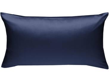 Mako Satin Kissenbezug uni dunkelblau 40x80 cm