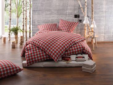 Warme Feinflanell Winter Bettwäsche Karo rot 135x200 100% Baumwolle