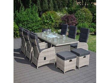 Gartenmöbel-Set / Sitzgruppe 'Marbella', inkl. 2 Hocker, Hellgrau