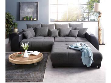 DELIFE Big-Sofa Violetta 310x135 cm Schwarz mit Hocker, Big Sofas