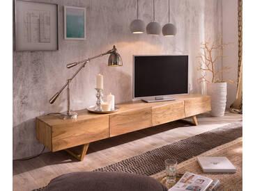 DELIFE Design-Lowboard Wyatt 220 cm Akazie Natur 4 Schübe, Fernsehtische