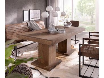 DELIFE Esstisch Indra Akazie Braun 200x100 massiv Säulentisch, Esstische