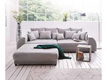 DELIFE Big-Sofa Violetta 310x135 cm Grau inklusive Hocker, Big Sofas