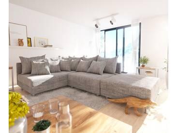 DELIFE Ecksofa Clovis Hellgrau Strukturstoff Hocker Ottomane Links Modulsofa, Design Ecksofas, Couch Loft, Modulsofa, modular