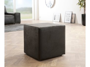 DELIFE Sitzwürfel Dado 45x45 cm Anthrazit Antik Optik Hocker, Sitzhocker / Sitzwürfel