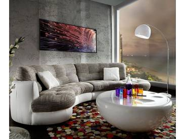DELIFE Sofa Napoli 300x95cm Weiss Hellgrau mit Kissen, Wohnlandschaften