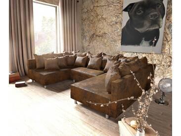 DELIFE Wohnlandschaft Clovis Braun Antik Optik Modulsofa, Design Wohnlandschaften, Couch Loft, Modulsofa, modular