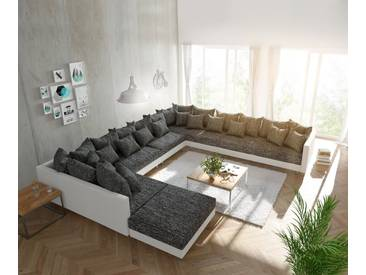 DELIFE Wohnlandschaft Clovis XXL Weiss Schwarz mit Hocker Ottomane Rechts, Design Wohnlandschaften, Couch Loft, Modulsofa, modular