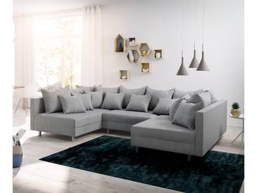 DELIFE Wohnlandschaft Clovis Grau Flachgewebe Modulsofa, Design Wohnlandschaften, Couch Loft, Modulsofa, modular