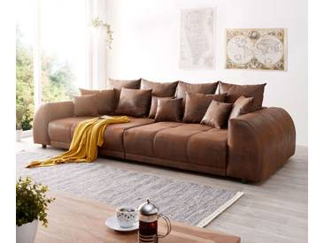 DELIFE Big-Sofa Violetta 310x135 cm Braun Antik Optik mit Kissen, Big Sofas