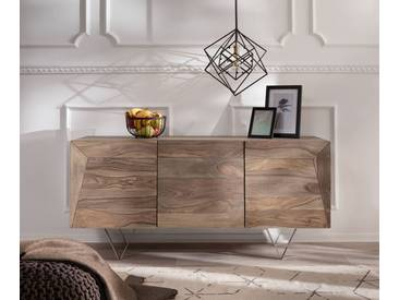 DELIFE Design-Sideboard Wyatt 150 cm Sheesham Natur 3D Optik oben Edelstahl, Sideboards