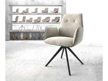 DELIFE Armlehnstuhl Zoa-Flex Beige Samt Kreuzgestell drehbar schwarz, Esszimmerstühle
