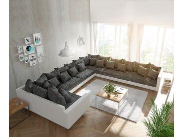 DELIFE Wohnlandschaft Clovis XXL Weiss Schwarz mit Armlehne Ottomane Rechts, Design Wohnlandschaften, Couch Loft, Modulsofa, modular