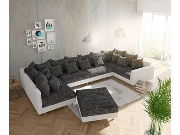 DELIFE Hocker Clovis B98 x T83 Weiss Schwarz Strukturstoff, Design Modulsofas, Couch Loft, Modulsofa, modular