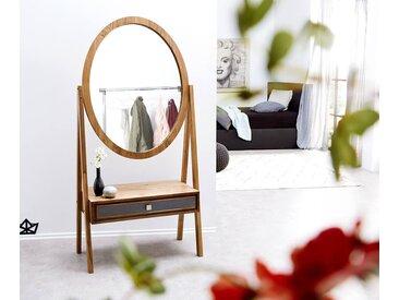 DELIFE Designer-Standspiegel Stonegrace 160x77 Akazie Natur Schublade, Spiegel