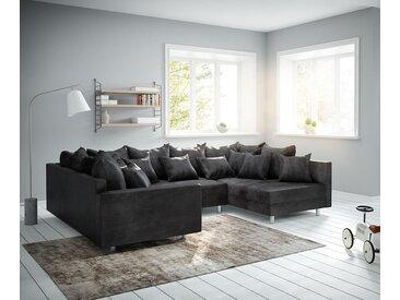 DELIFE Wohnlandschaft Clovis Anthrazit Antik Optik modular Armlehne, Design Wohnlandschaften, Couch Loft, Modulsofa, modular