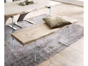 DELIFE Sitzbank Live-Edge 135x40 Akazie Gebleicht Glasbeine Baumkante, Bänke, Baumkantenmöbel, Massivholzmöbel, Massivholz, Baumkante, Wolf Live Edge