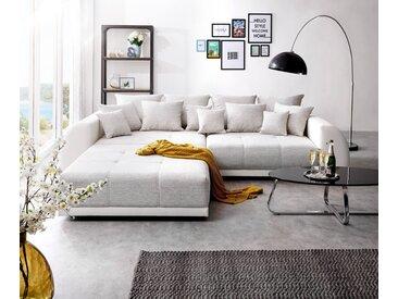 DELIFE Big-Sofa Violetta 310x135 cm Hellgrau Creme mit Hocker, Big Sofas