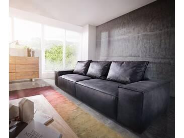 DELIFE Big-Sofa Sirpio L 250x105 cm Anthrazit Vintage Kedernaht, Big Sofas