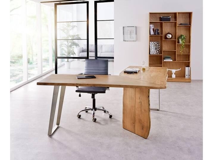 DELIFE Schreibtisch Live-Edge 170x170 Akazie Na...