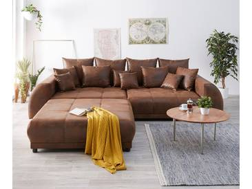 DELIFE Big-Sofa Violetta 310x135 Braun Antik Optik Hocker Kissen, Big Sofas