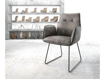DELIFE Armlehnstuhl Zoa-Flex Grau Vintage Kufengestell schwarz, Esszimmerstühle