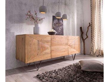 DELIFE Design-Sideboard Wyatt 175 cm 3D Optik mittig Akazie Natur Edelstahl, Sideboards