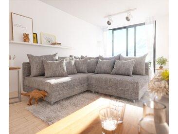 DELIFE Ecksofa Clovis Hellgrau Strukturstoff Ottomane Links Modulsofa, Design Ecksofas, Couch Loft, Modulsofa, modular