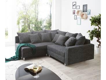 DELIFE Ecksofa Clovis Schwarz Strukturstoff mit Armlehne Ottomane Links, Design Ecksofas, Couch Loft, Modulsofa, modular