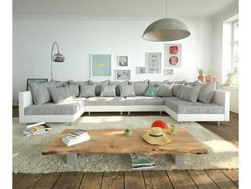 DELIFE Wohnlandschaft Clovis XL Weiss Hellgrau Modulsofa, Design Wohnlandschaften, Couch Loft, Modulsofa, modular