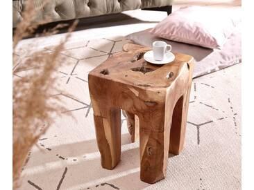 DELIFE Beistelltisch Benn 30x30 cm Teak Natur Massivholz, Beistelltische