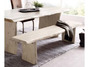 DELIFE Sitzbank Live-Edge 195x40 Akazie Gebleicht Gestell massiv Baumkante, Bänke, Baumkantenmöbel, Massivholzmöbel, Massivholz, Baumkante, Wolf Live Edge