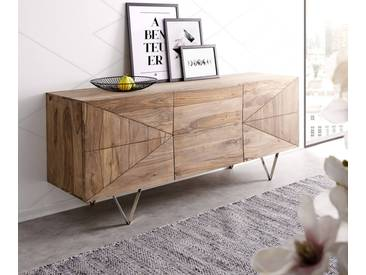 DELIFE Design-Sideboard Wyatt 175 cm Sheesham Natur 3D Optik mittig Edelstahl, Sideboards