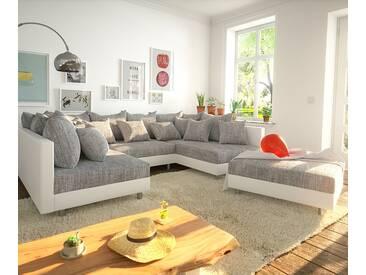 DELIFE Wohnlandschaft Clovis Weiss Hellgrau Modulsofa Hocker, Design Wohnlandschaften, Couch Loft, Modulsofa, modular