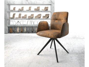 DELIFE Armlehnstuhl Vinja-Flex Braun Vintage Kreuzgestell drehbar  schwarz, Esszimmerstühle