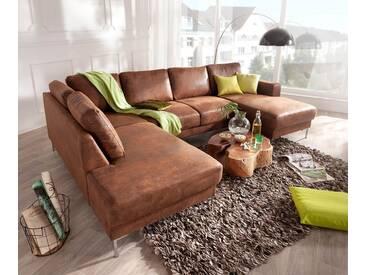 DELIFE Designer-Wohnlandschaft Silas 300x200 Braun Antik Optik  Ottomane Links, Wohnlandschaften, Designer Sofa