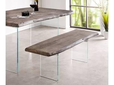 DELIFE Sitzbank Live-Edge 135x40 cm Akazie Platin Glasbeine, Bänke, Baumkantenmöbel, Massivholzmöbel, Massivholz, Baumkante, Wolf Live Edge