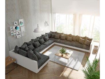 DELIFE Wohnlandschaft Clovis XXL Weiss Schwarz Ottomane Rechts, Design Wohnlandschaften, Couch Loft, Modulsofa, modular