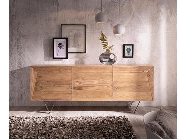 DELIFE Design-Sideboard Wyatt 175 cm Akazie Natur 3D Optik oben Edelstahl, Sideboards
