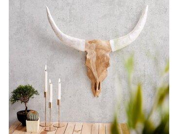 DELIFE Geweih Stierkopf 65x60 cm Teak Natur Horn Weiss Unikat, Dekoartikel
