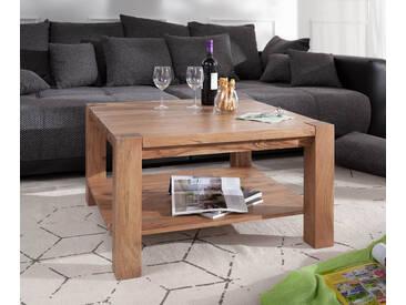 DELIFE Couchtisch Indra Akazie Natur 80x80 Ablage Massivholz, Couchtische